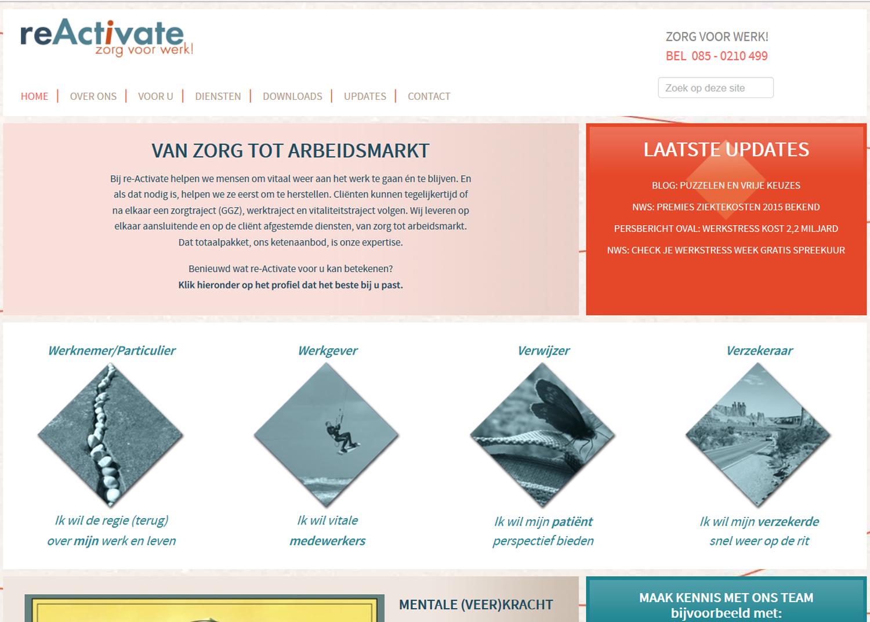 Website van re-Activate, specialist in Zorg & Werk, geschreven door tekstschrijver Elly van der Heide