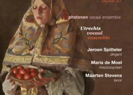 Flyer voor de Vespers van Rachmaninov, uitvoering door het Utrechts Vocaal Ensemble