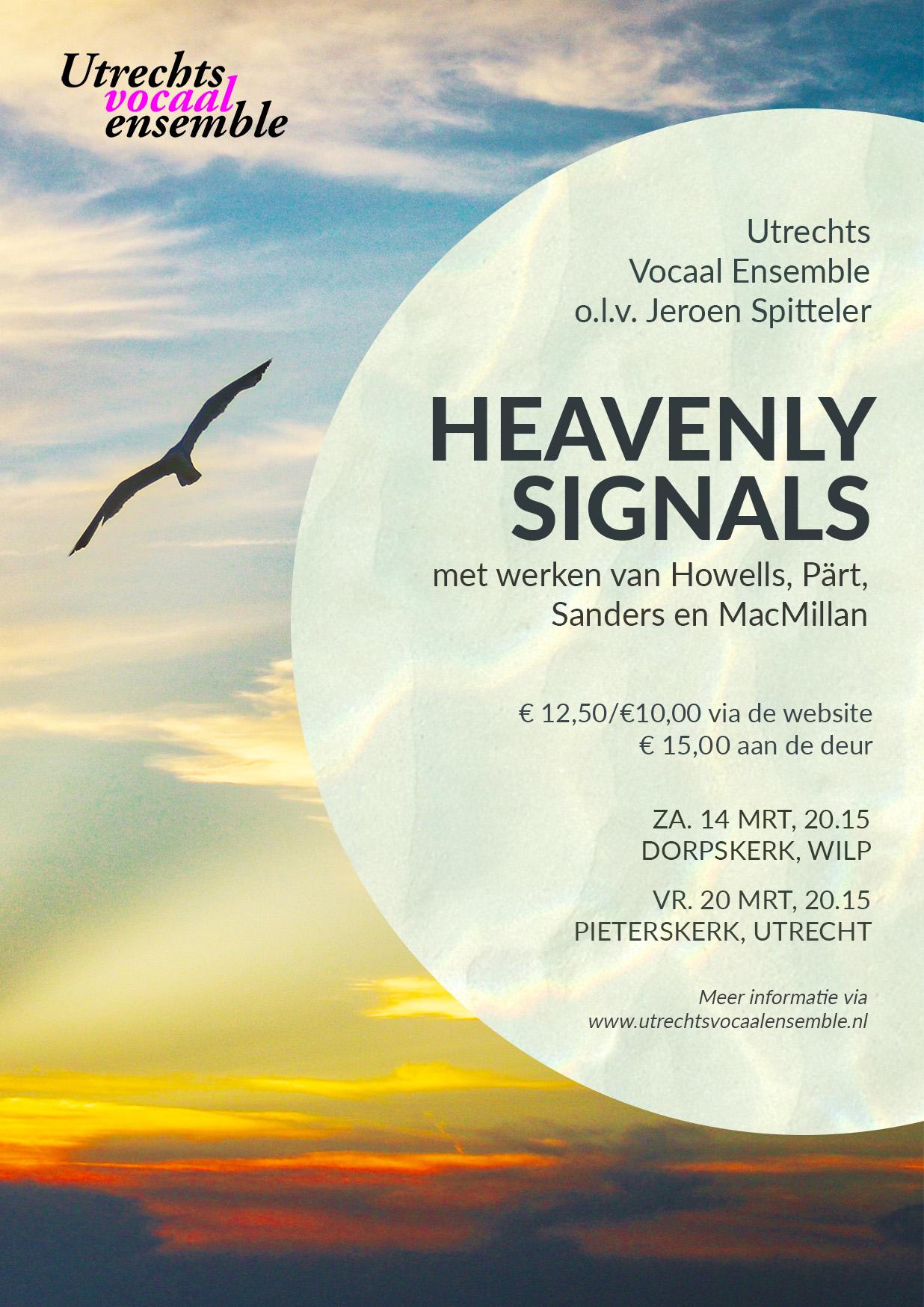 Flyer concert Heavenly Signals van het Utrechts Vocaal Ensemble
